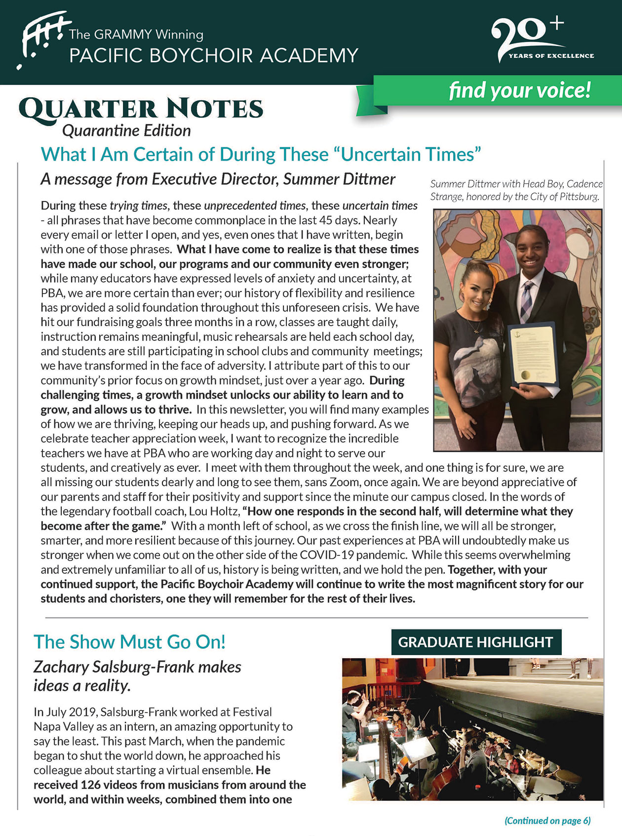 Quarterly Newsletter - Volume Two
